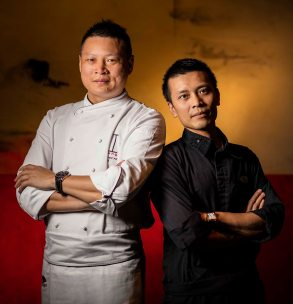 Chef Fei, left, of the MO Guangzhou and Chef Wong of the MO Macau.