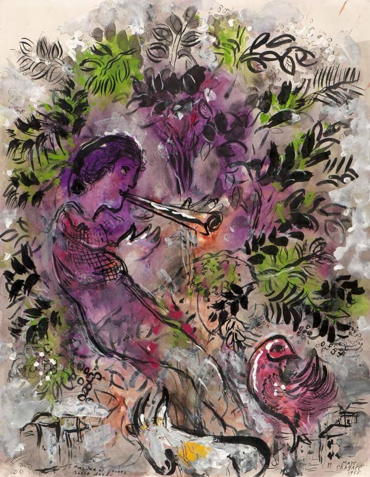 大型展覽夏加爾作品展,圖為作品Le garçon dans les fleurs,1955