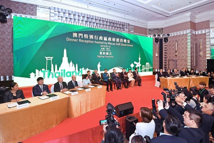 行政長官崔世安見證澳泰兩地政府部門、商會協會之間共5份合作協議或合作備忘錄的簽署儀式。
