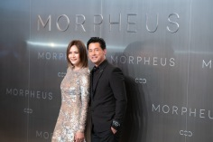 Hong Kong actor Michael Wong and his wife Janet Ma posing during Melco Morpheus building Opening in Macau, China, on 15 June 2018. Photo by Lucas Schifres