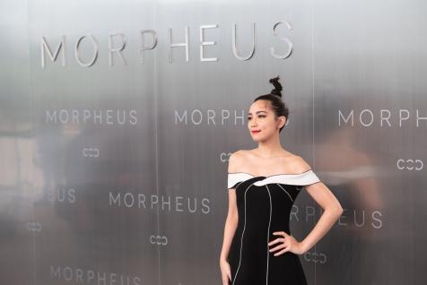 Zhang Tian Chinese model posing duringMelco Morpheus building Opening in Macau, China, on 15 June 2018. Photo by Lucas Schifres