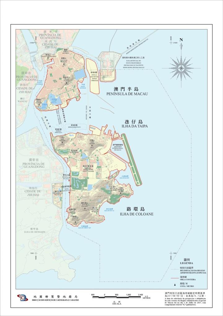 《澳門特別行政區海岸線圖》