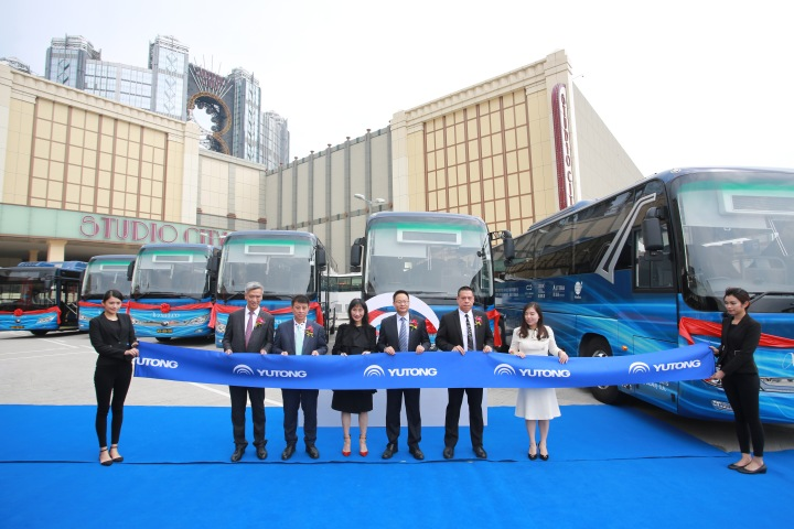 03. Melco Yutong e-bus launch_Group with e-buses
