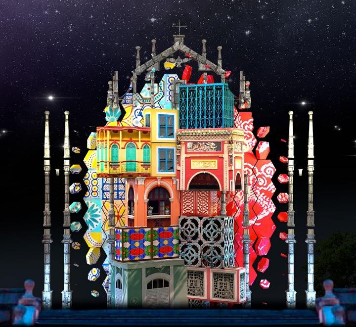 本地團隊於大三巴牌坊打造的光雕表演效果圖