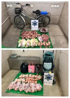 兩案查獲的走私食材及電動單車