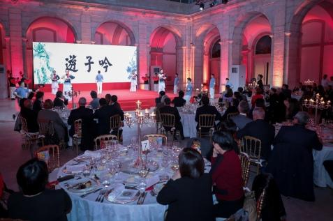 來自澳門的詩詞功夫表演隊在社會文化司司長於里斯本所設的歡迎晚宴上展現才藝