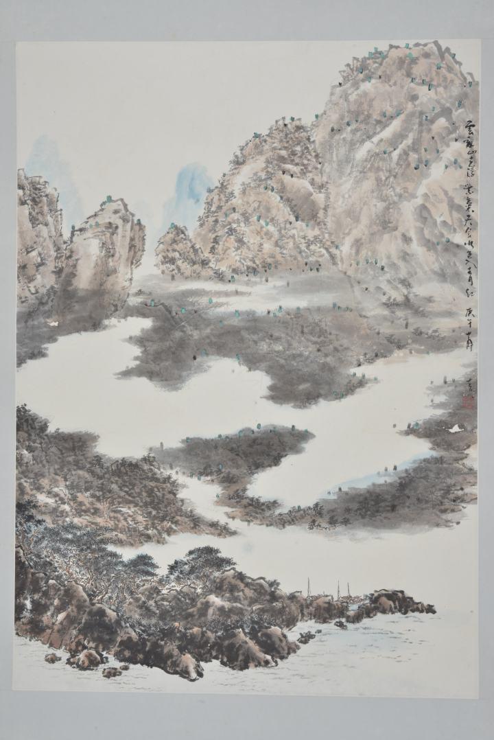 """山水 設色紙本直幅 116 x 83 cm 高勵節集眾家所長,成就了""""折衷中西、融匯古今""""的獨特畫風。他的山水畫尤為出色,融合嶺南畫派的細膩及黃賓虹山水的氣勢。"""