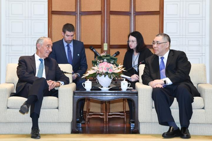 行政長官崔世安與葡萄牙共和國總統馬塞洛‧雷貝洛‧德索薩會面