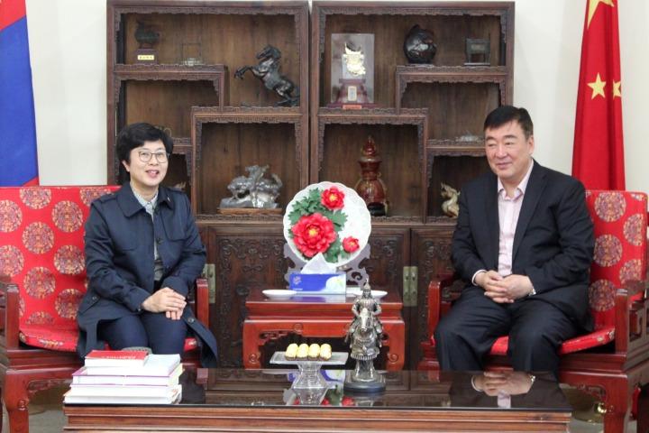 中國駐蒙古國大使邢海明與陳海帆司長進行工作交流