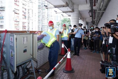 模擬避險中心停電,提供臨時發電機